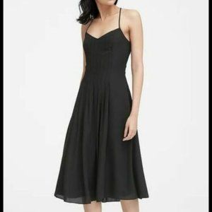 Banana Republic Pintuck Midi Dress, Black, Size 10